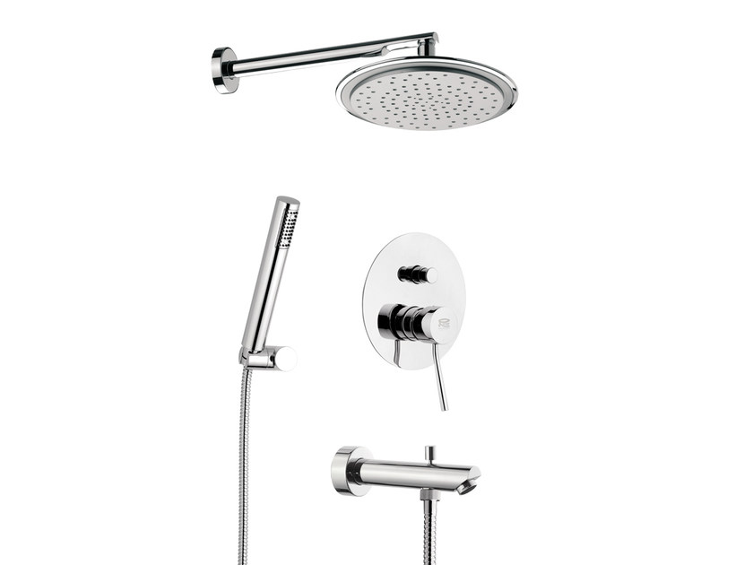 Chromed brass shower mixer with overhead shower MINIMAL | Chromed brass shower mixer by Remer Rubinetterie
