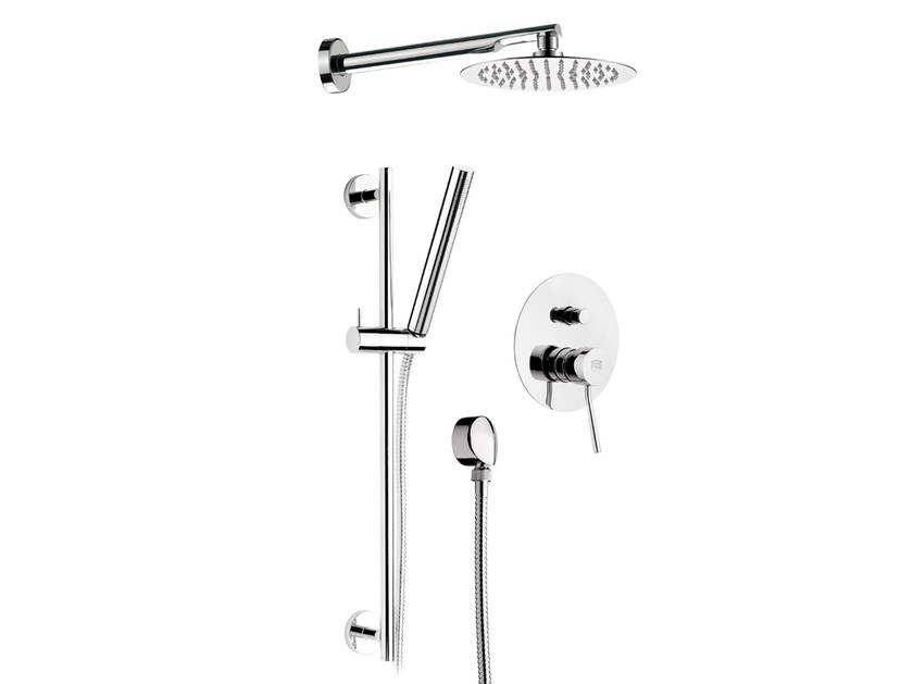 Built-in chromed brass shower panel with overhead shower MINIMAL | Built-in shower panel - Remer Rubinetterie