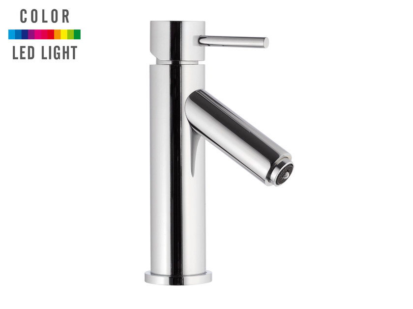 Countertop LED chromed brass washbasin mixer without waste MINIMAL COLOR | Countertop washbasin mixer - Remer Rubinetterie