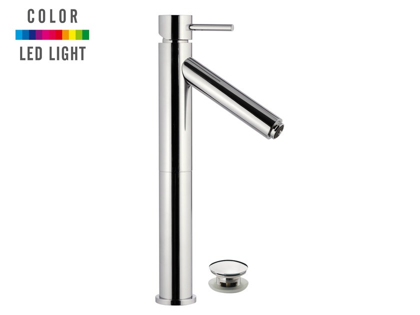 Countertop 1 hole LED chromed brass washbasin mixer MINIMAL COLOR | 1 hole washbasin mixer - Remer Rubinetterie
