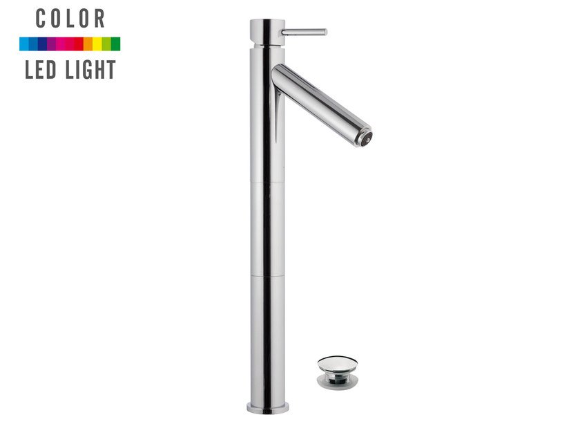 Countertop single handle LED chromed brass washbasin mixer MINIMAL COLOR | Chromed brass washbasin mixer - Remer Rubinetterie
