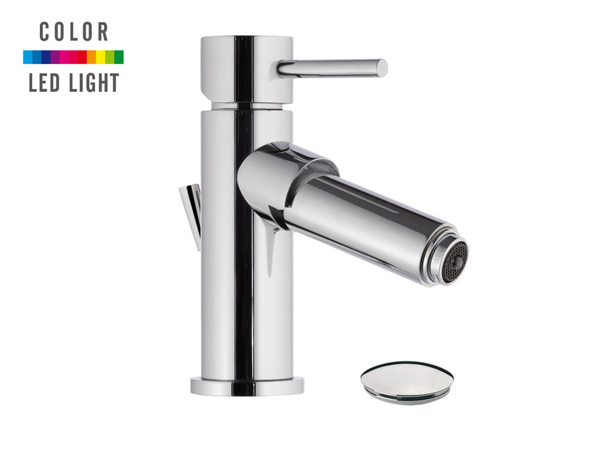 Countertop LED chromed brass bidet mixer MINIMAL COLOR | Bidet mixer - Remer Rubinetterie