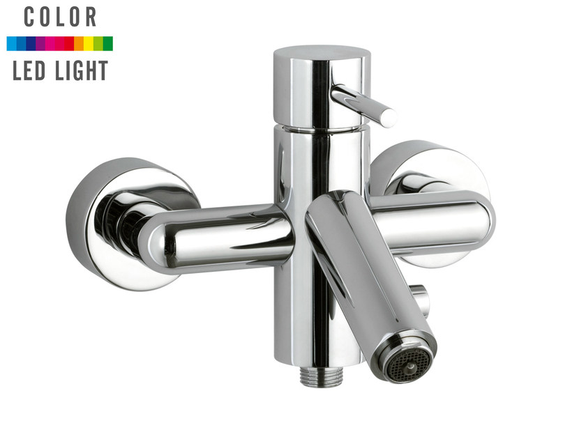 Wall-mounted chrome-plated LED bathtub mixer MINIMAL COLOR | Bathtub mixer - Remer Rubinetterie