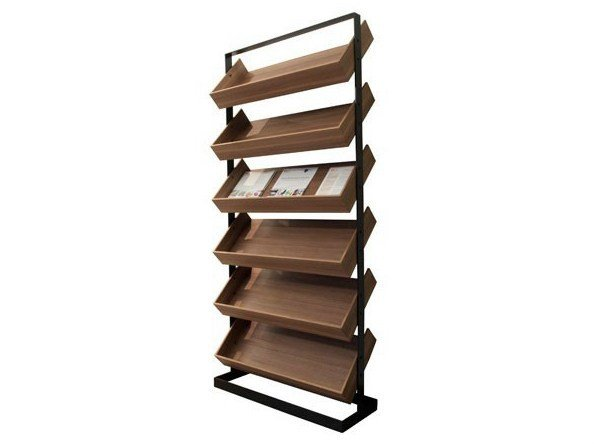 Floor-standing retail display unit with inclined shelves SÉVERIN | Retail display unit by Alex de Rouvray