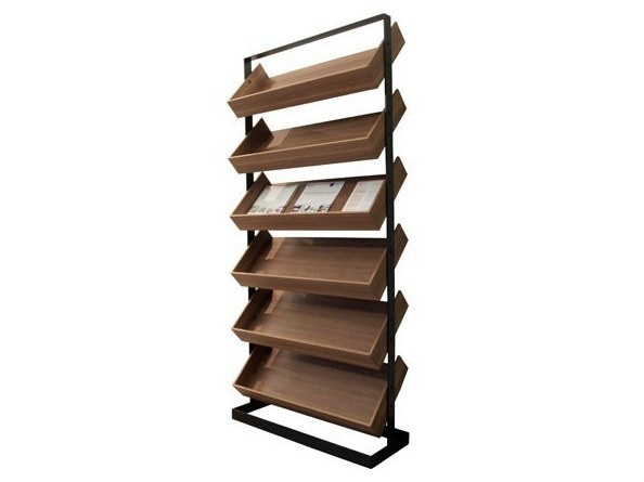 Floor-standing retail display unit with inclined shelves SÉVERIN | Retail display unit - Alex de Rouvray design