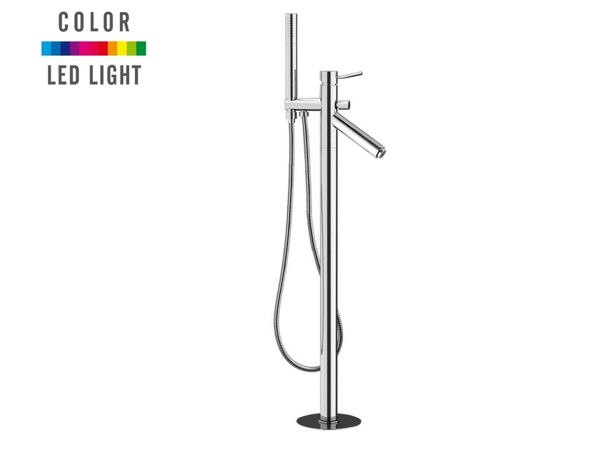 Floor standing LED bathtub mixer with hand shower MINIMAL COLOR | Floor standing bathtub mixer - Remer Rubinetterie