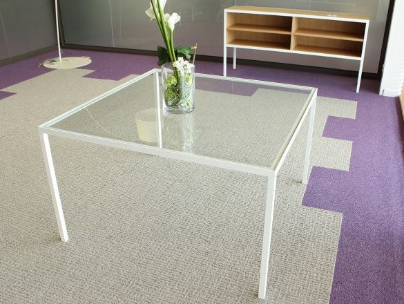 Glass and steel table T1 - Alex de Rouvray design