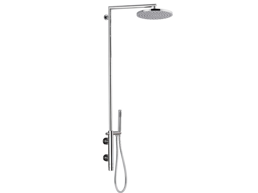 Wall-mounted thermostatic chromed brass shower panel MINIMAL THERMO | Shower panel by Remer Rubinetterie