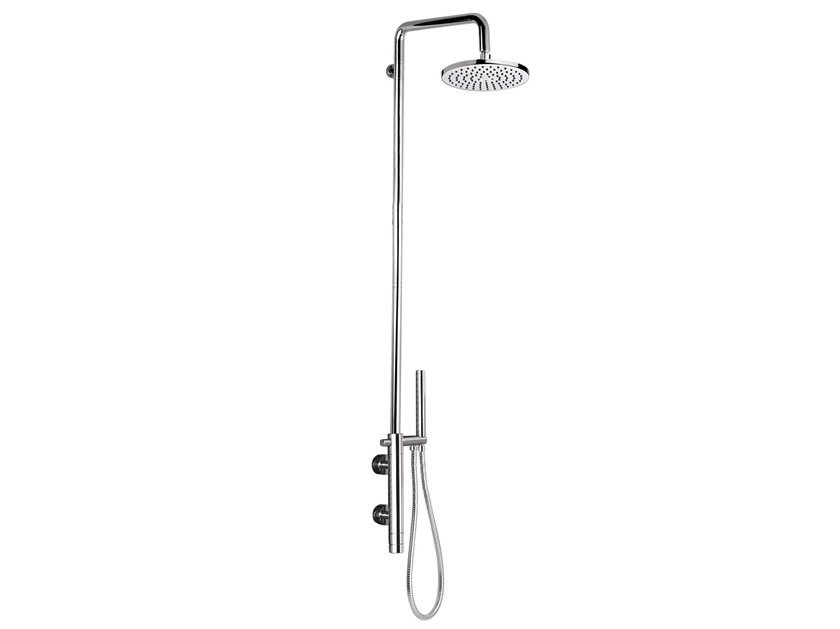 Wall-mounted thermostatic chromed brass shower panel with hand shower MINIMAL THERMO | Shower panel with hand shower - Remer Rubinetterie