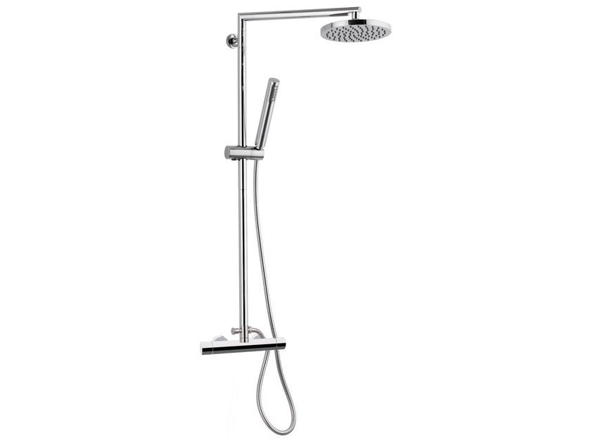 Wall-mounted thermostatic chromed brass shower panel with overhead shower MINIMAL THERMO | Shower panel with overhead shower - Remer Rubinetterie
