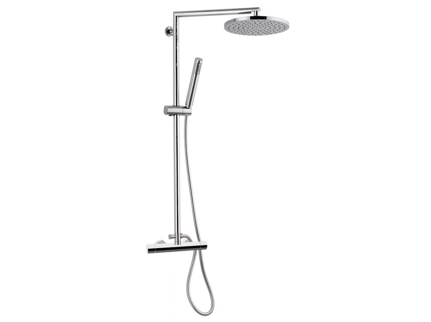 Wall-mounted thermostatic chromed brass shower panel with hand shower MINIMAL THERMO | Thermostatic shower panel - Remer Rubinetterie