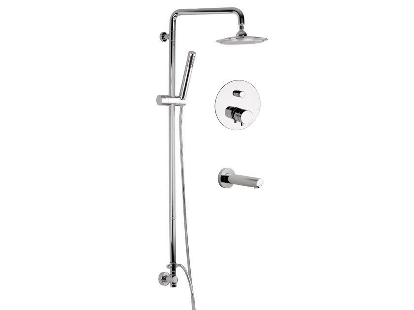 Wall-mounted shower panel with hand shower MINIMAL THERMO | Wall-mounted shower panel - Remer Rubinetterie