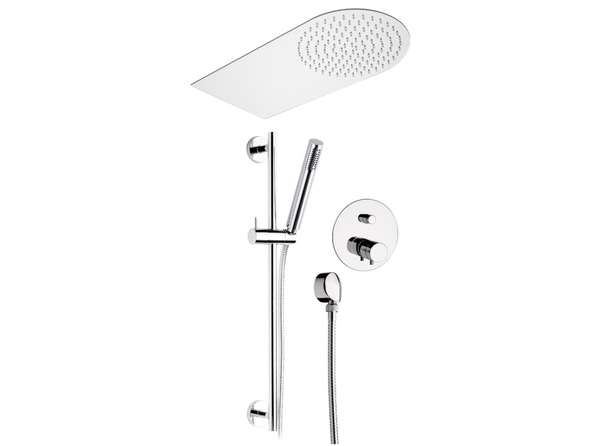 Chromed brass shower wallbar with mixer tap with overhead shower MINIMAL THERMO | Shower wallbar with mixer tap - Remer Rubinetterie