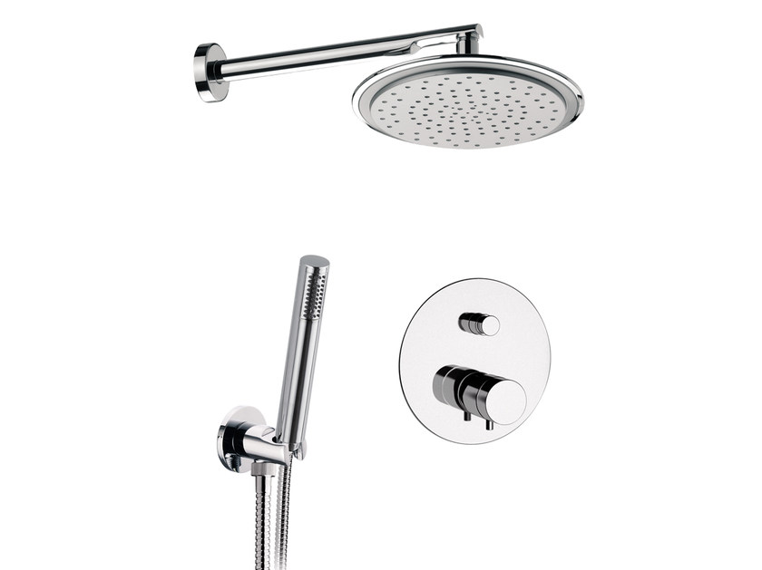 Chromed brass thermostatic shower mixer with hand shower MINIMAL THERMO | Thermostatic shower mixer with hand shower - Remer Rubinetterie