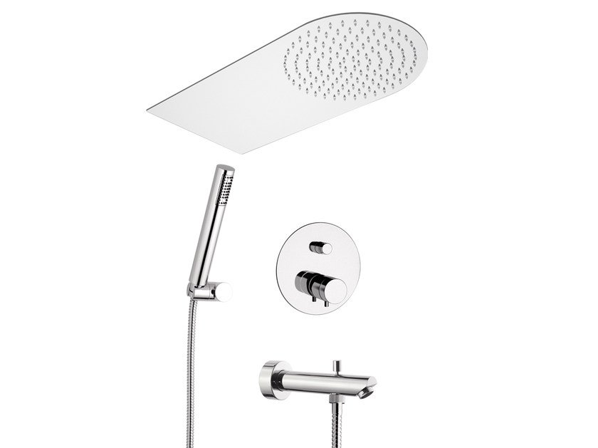 Thermostatic shower mixer with hand shower with overhead shower MINIMAL THERMO | Thermostatic shower mixer with overhead shower - Remer Rubinetterie