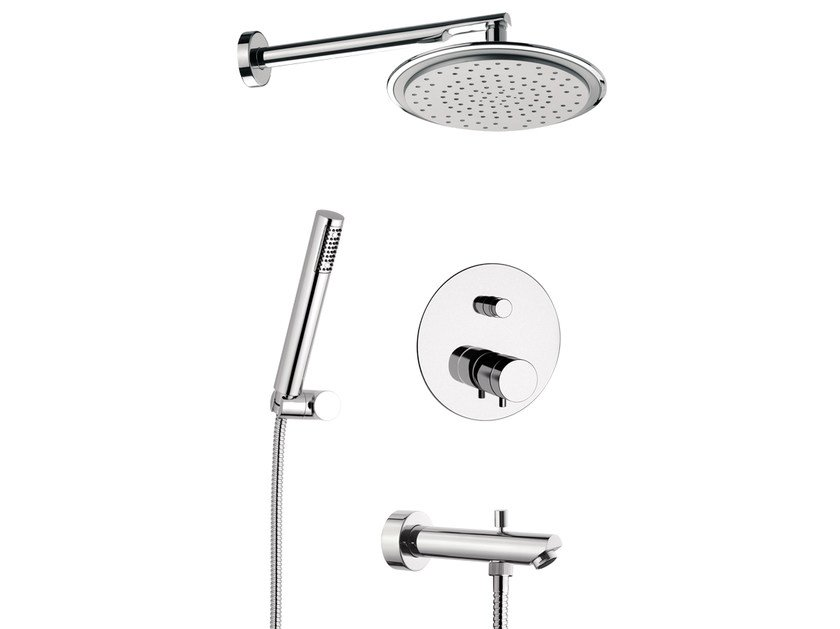 Thermostatic shower mixer with hand shower MINIMAL THERMO | Thermostatic shower mixer with hand shower - Remer Rubinetterie