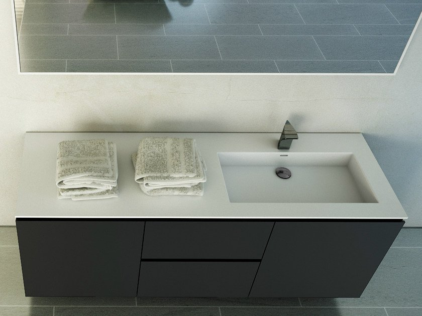 Rectangular washbasin with integrated countertop MODUL DESK 60 - DIMASI BATHROOM by Archiplast