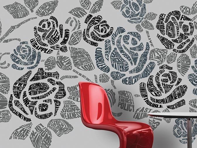 Writing vinyl wallpaper with floral pattern RHYME & REASON by GLAMORA