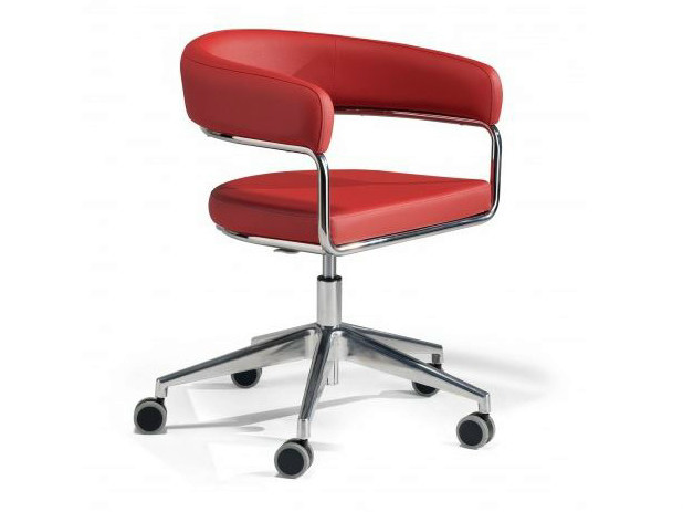 Chair with 5-spoke base with armrests with casters RUBINO | Chair with casters - Castellani.it