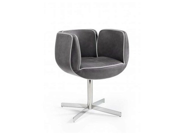 Upholstered easy chair with 4-spoke base with armrests TULIP | Easy chair with 4-spoke base - Castellani.it