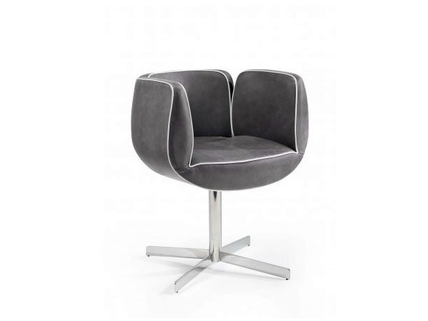 Upholstered easy chair with 4-spoke base with armrests TULIP | Easy chair with 4-spoke base by Castellani.it