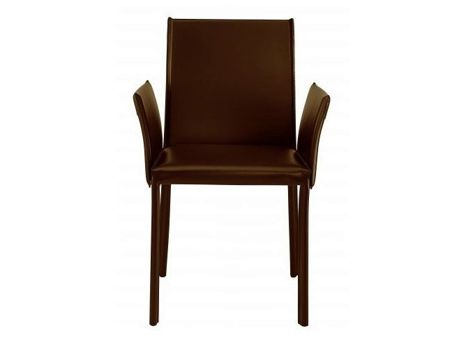Tanned leather chair with armrests TIME - Castellani.it