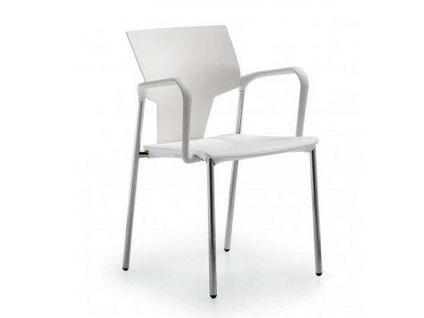 Polypropylene reception chair with armrests FLUX | Chair with armrests - Castellani.it