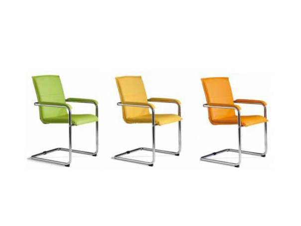 Cantilever imitation leather reception chair with armrests CUBIKA - Castellani.it