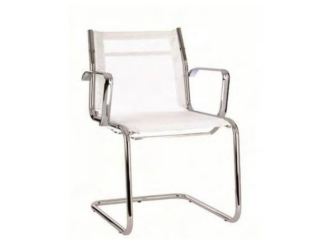 Cantilever mesh reception chair with armrests TEKNIK-R | Cantilever chair - Castellani.it