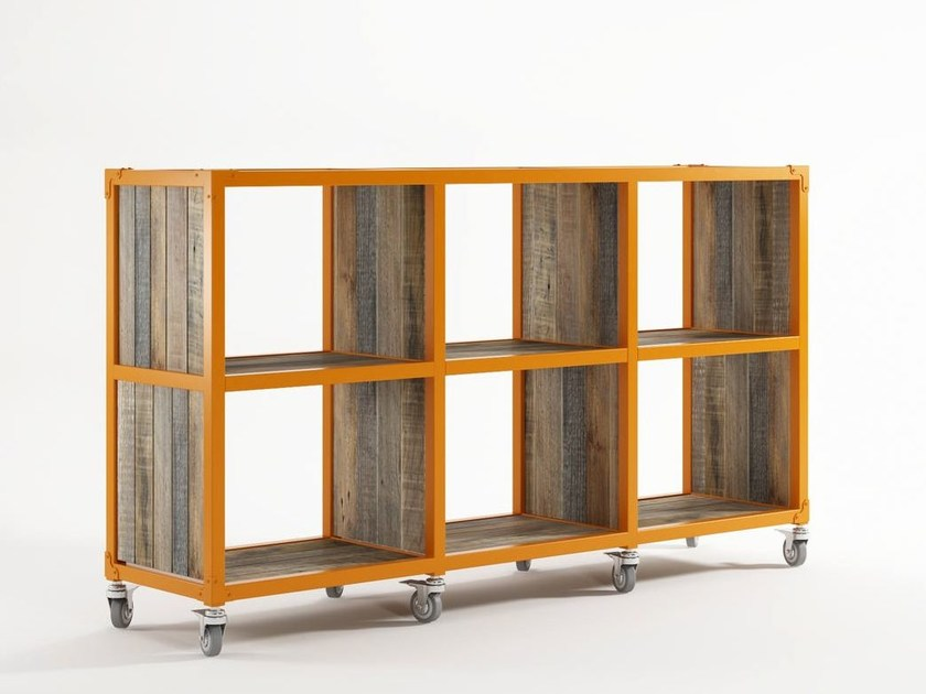 Open freestanding wooden bookcase with casters AK- 14 | Bookcase by KARPENTER