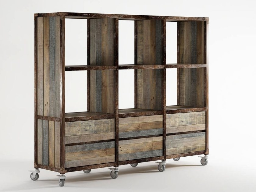 Wooden bookcase with drawers with casters AK- 14 | Bookcase with drawers by KARPENTER