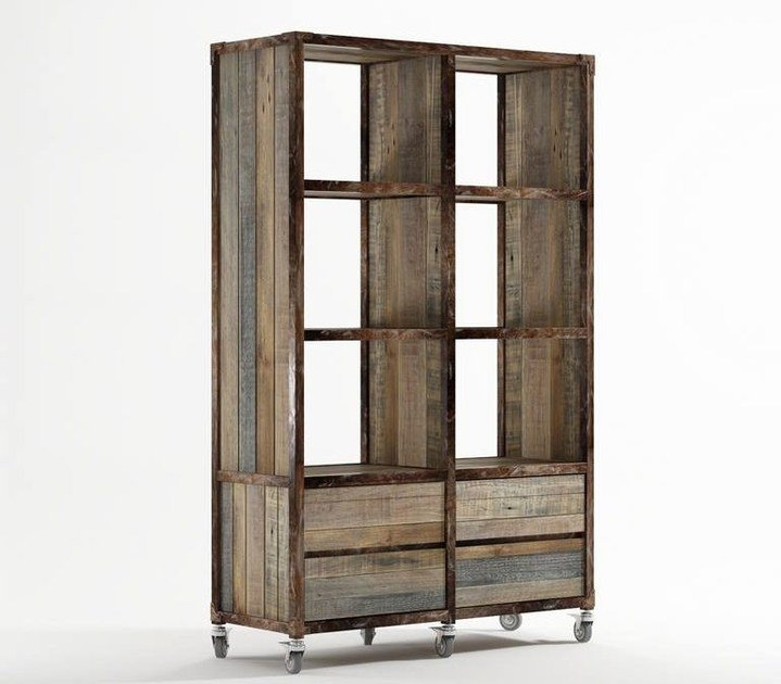 Freestanding wooden bookcase with drawers AK- 14 | Open bookcase - KARPENTER