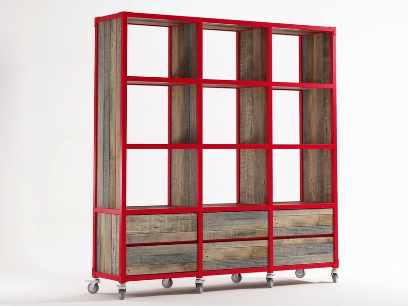 Freestanding wooden bookcase with drawers with casters AK- 14 | Wooden bookcase - KARPENTER