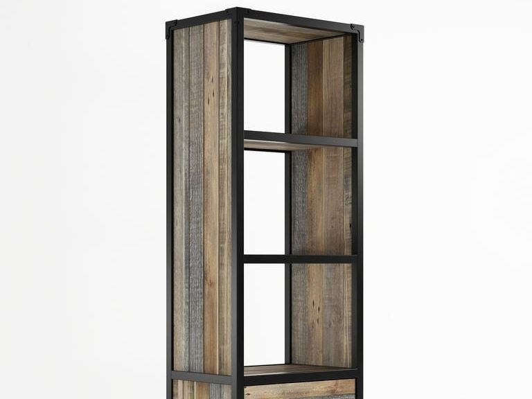 Contemporary style freestanding double-sided wooden bookcase with drawers AK- 14 | Bookcase with casters - KARPENTER