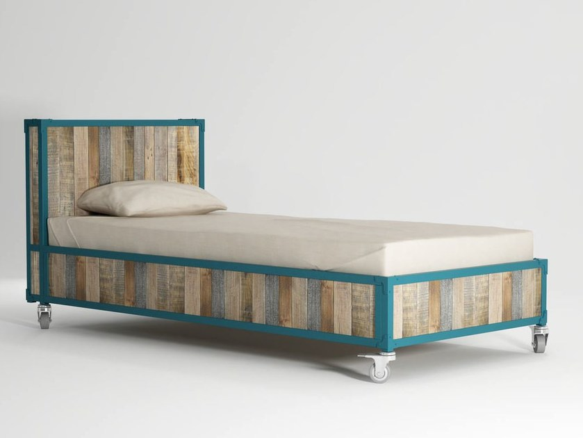 Wooden single bed on casters AK- 14 | Single bed - KARPENTER