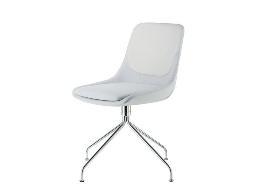 Upholstered trestle-based fabric chair CRONA | Trestle-based chair - Brunner