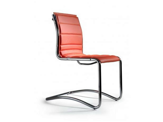 Cantilever upholstered imitation leather reception chair COMET | Reception chair - Castellani.it