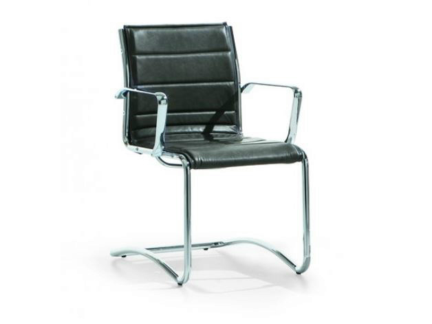 Cantilever imitation leather reception chair with armrests COMET | Reception chair - Castellani.it