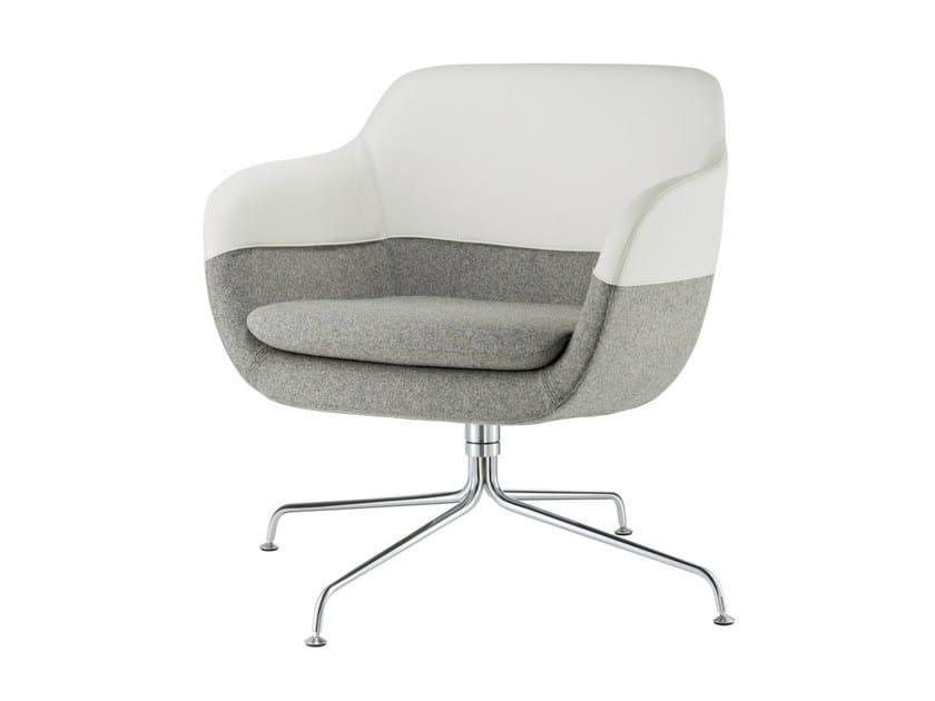 Trestle-based armchair with armrests CRONA LOUNGE | Trestle-based armchair - Brunner