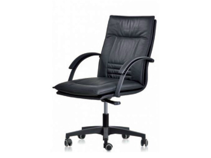 Medium back leather executive chair with 5-spoke base ROMA | Executive chair - Castellani.it