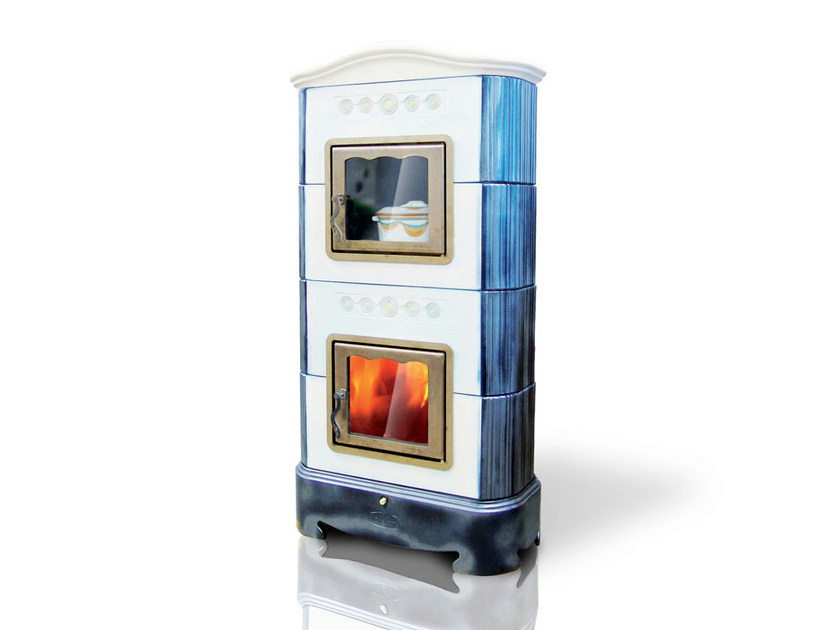 Wood-burning ceramic stove with Oven ELLISSE | Stove with Oven - LA CASTELLAMONTE STUFE