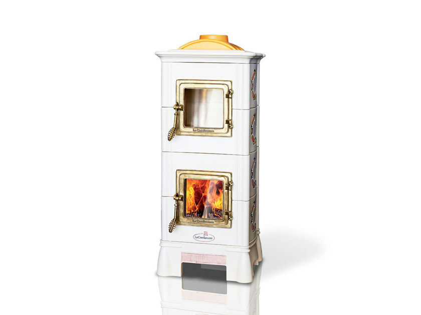 Wood-burning ceramic stove with Oven ONDA | Stove with Oven - LA CASTELLAMONTE STUFE