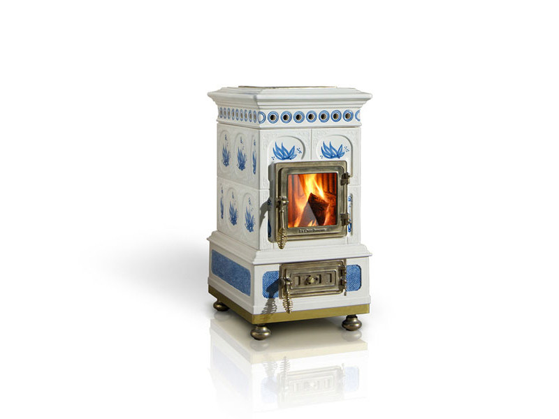 Wood-burning ceramic stove VOLUTA by LA CASTELLAMONTE