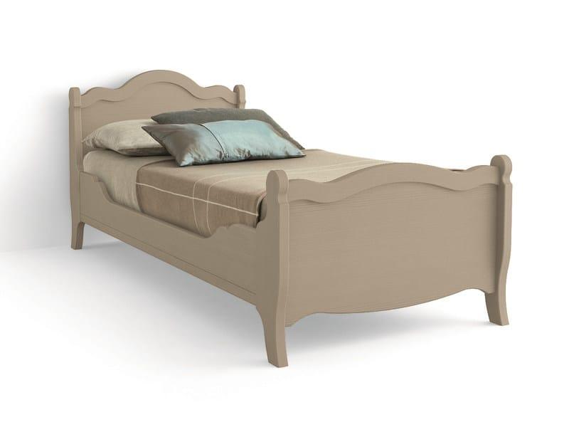 Wooden single bed TABIÀ | Single bed by Scandola Mobili