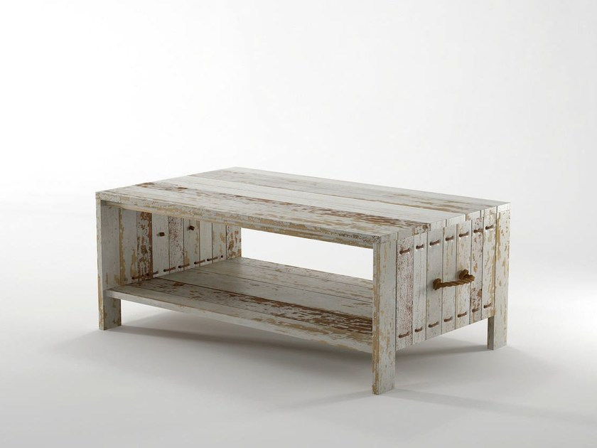 Rectangular wooden coffee table with integrated magazine rack ROPE ME | Coffee table by KARPENTER