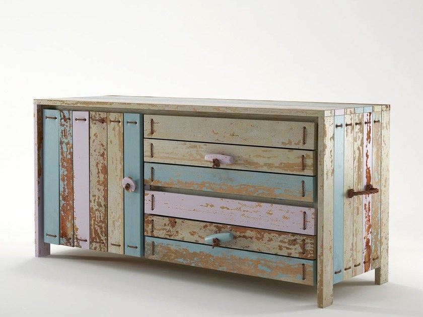 Reclaimed wood sideboard with doors with drawers ROPE ME | Sideboard with drawers - KARPENTER
