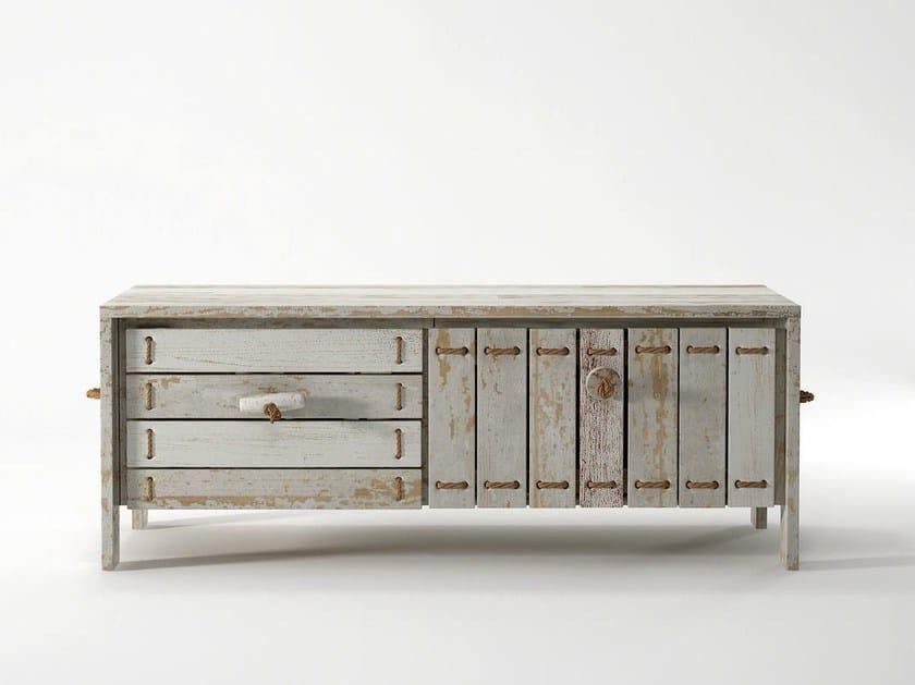 Reclaimed wood TV cabinet / sideboard ROPE ME | Wooden TV cabinet - KARPENTER