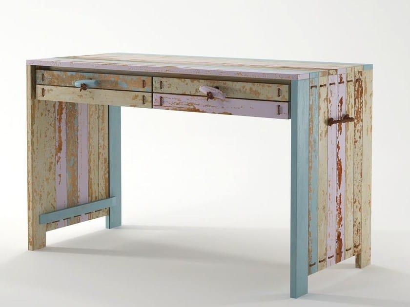 Rectangular wooden writing desk with drawers ROPE ME | Writing desk - KARPENTER