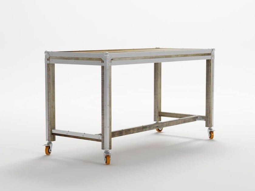 Rectangular metal writing desk with casters ROADIE   Writing desk - KARPENTER
