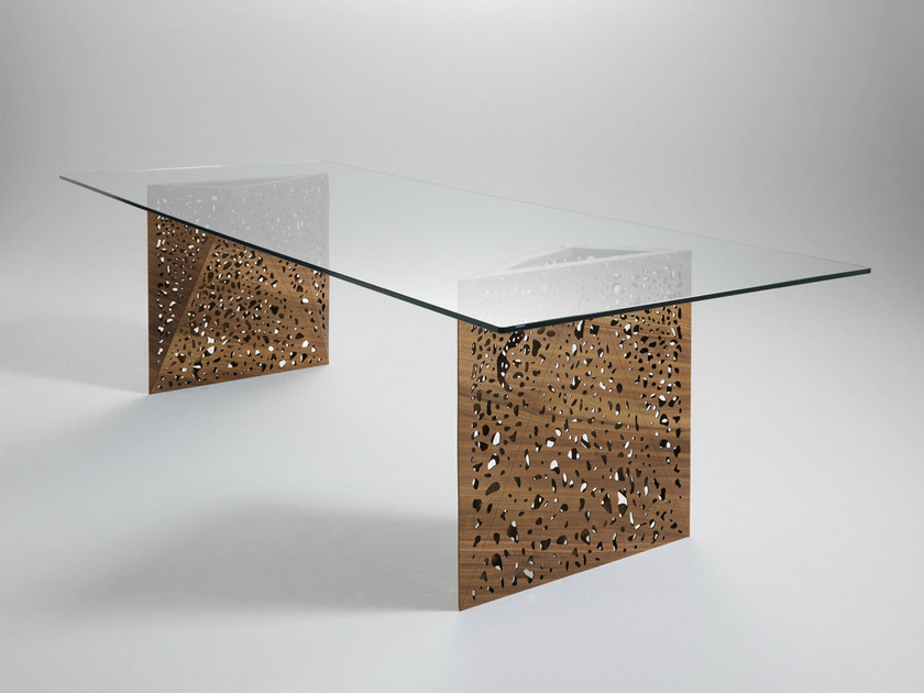 Rectangular table with light RIDDLED | Table - HORM.IT